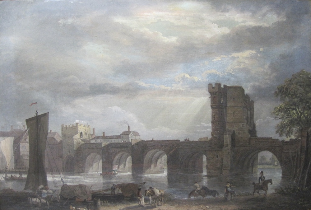 Lot 53 - PAUL SANDBY, R.A. (1725-1809) The Old Welsh Bridge, Shrewsbury  watercolour, gouache and body-