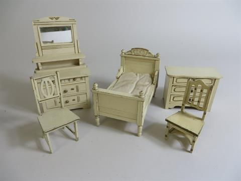 A Cream And Gold Set Of Gottschalk Dolls House Bedroom Furniture Viz:  Dressing Table, Bed, Chest
