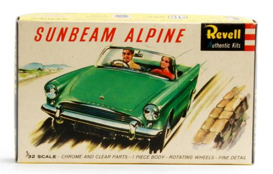 A Revell 1/32 Sunbeam Alpine Kit, unmade in green with