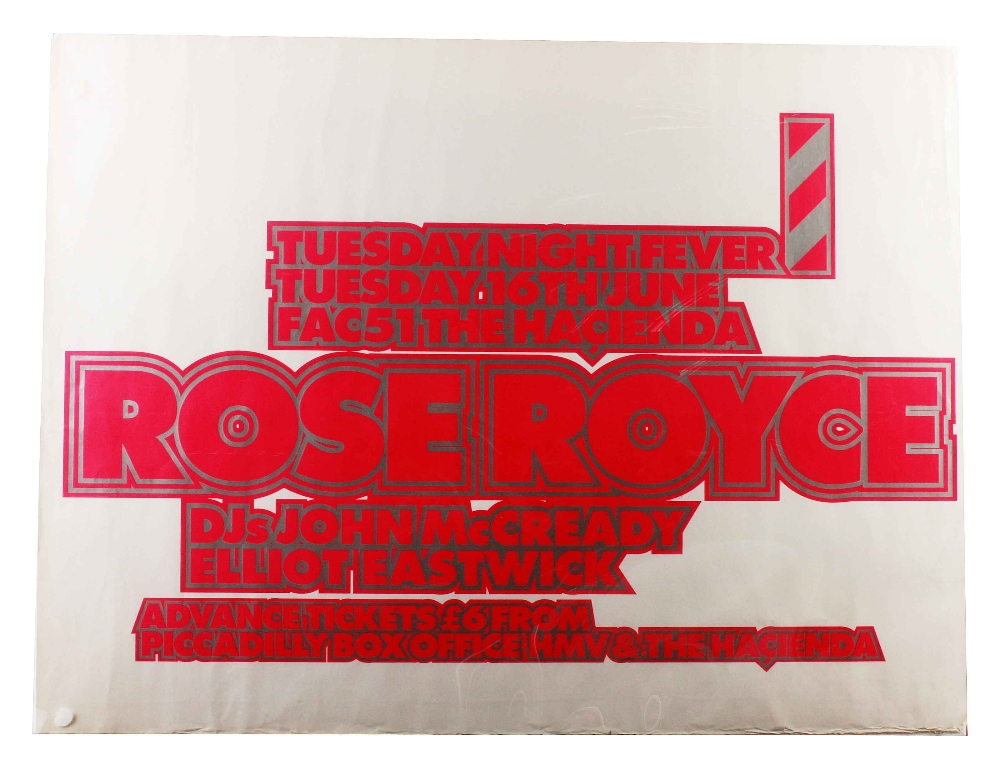 Lot 1031 - Music Posters: Rose Royce, original UK concert poster for The Hacienda Club, Manchester Tuesday 16th