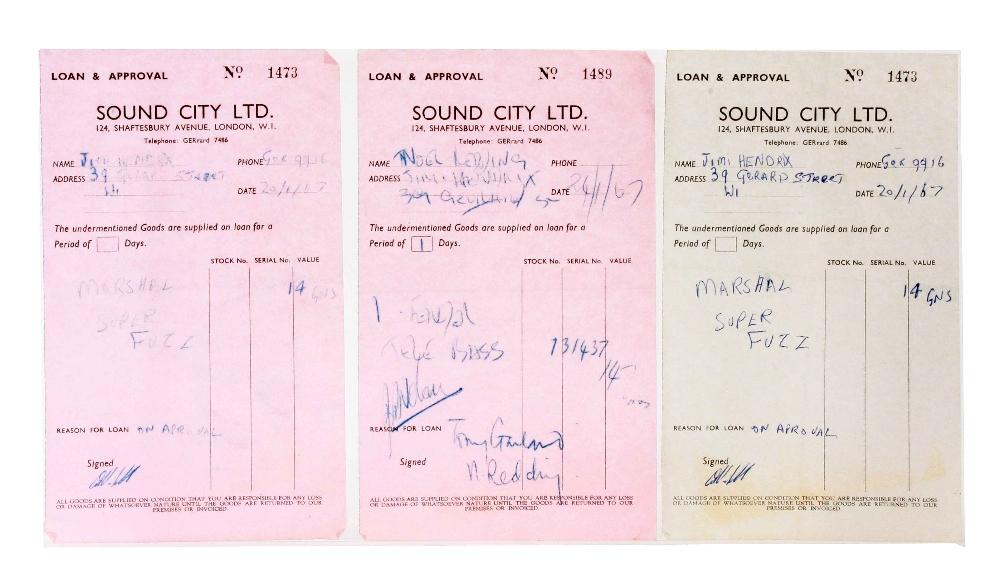 Lot 948 - Music Memorabilia: The Jimi Hendrix Experience, collection of original Sound City receipts 1966 -