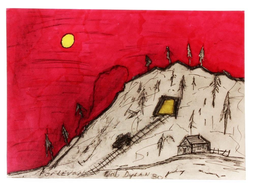 Lot 958 - Music Memorabilia: Bob Dylan, original artwork Coal Miners Daughter. This painting was given to