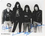 "Lot 959 - Music Memorabilia: The Ramones, 10x8"" B&W photo signed by all 4 original members with COA"
