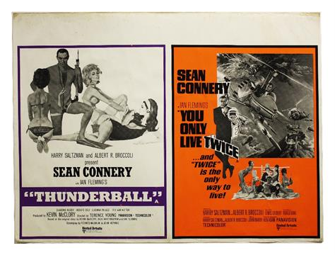 James Bond: UK double bill Quad poster 1970s issue for the films