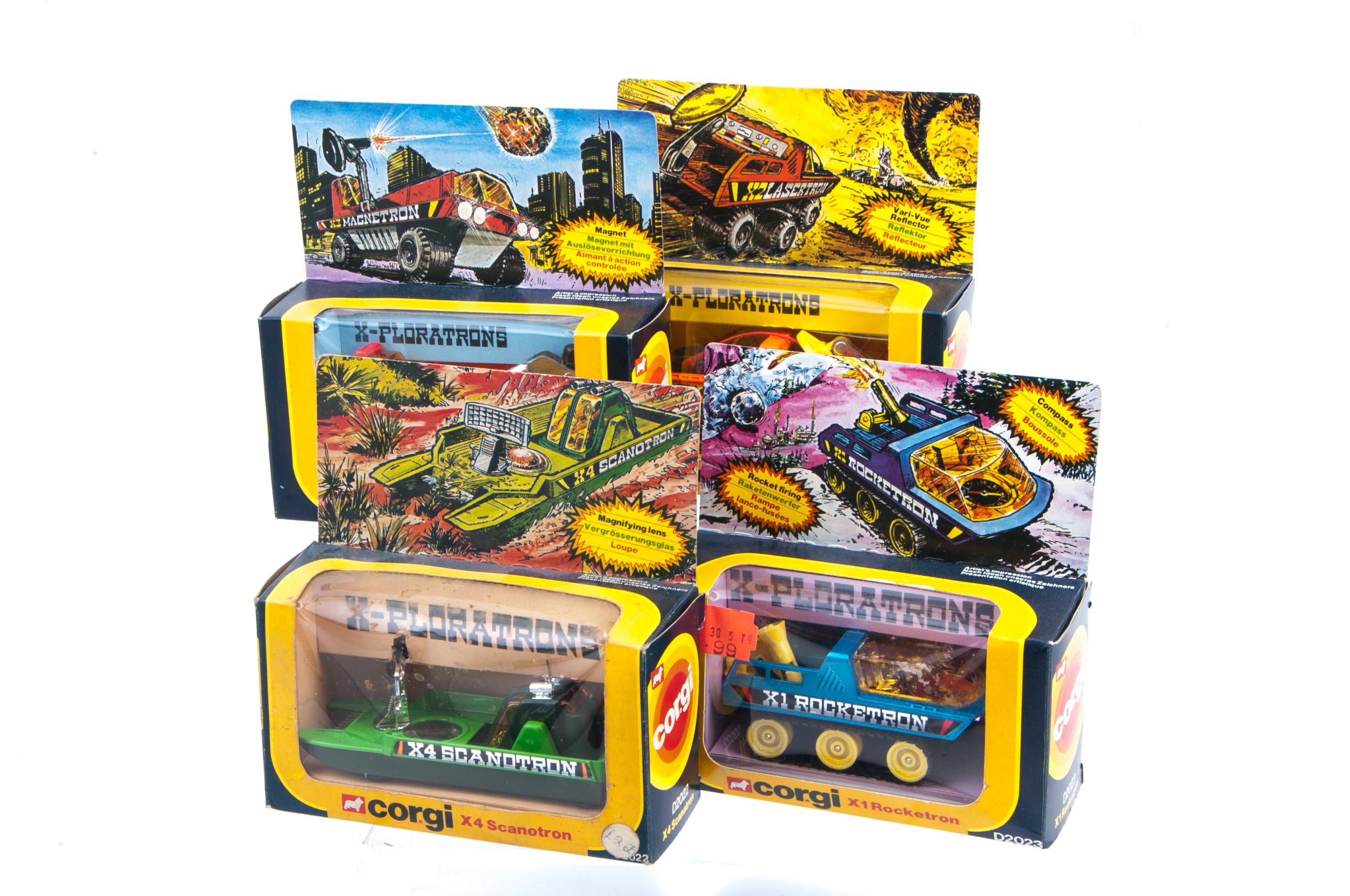 Lot 8 - Corgi Toys 1979 X-Ploratrons, D2022 X-4 Scanotron (2), D2023 X1 Rocketron, D2024 X2 Lasertron and X3