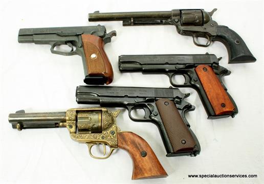 Five replica handguns, including a Browning MOD GPDA8, Colt M1911 A1