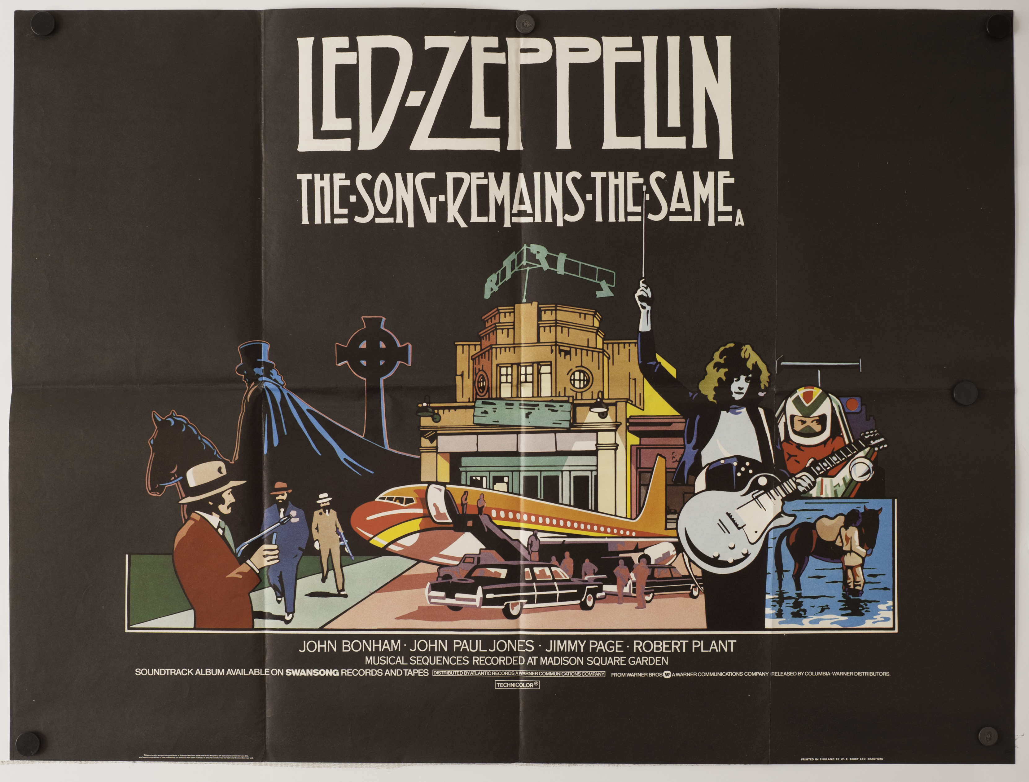 Lot 653 - Led Zeppelin: original UK poster for the 1976 film `The Song Remains The Same` folded and in