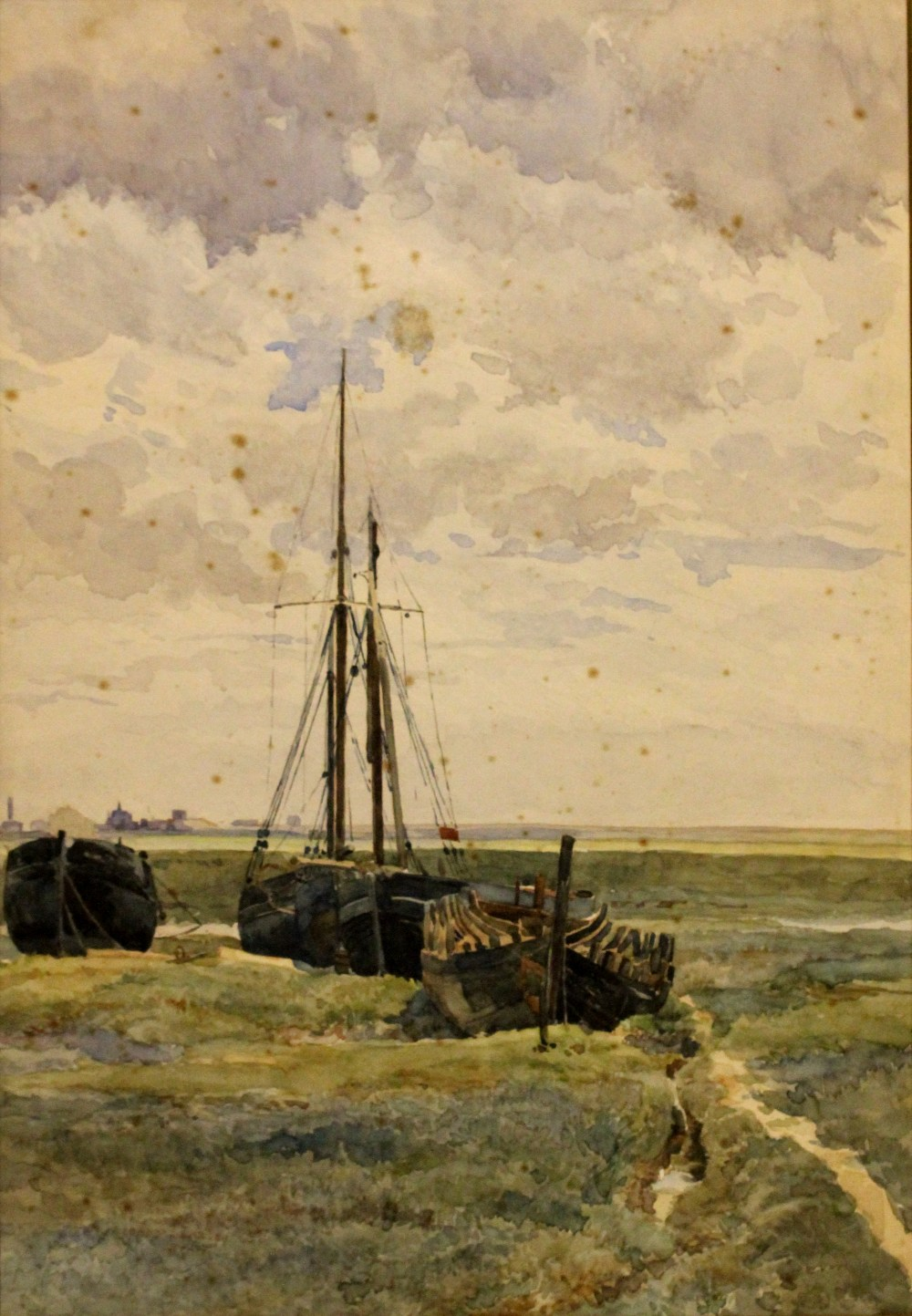 43 Henry Henry Sheppard Dale Boats In Salt Marshes Watercolour