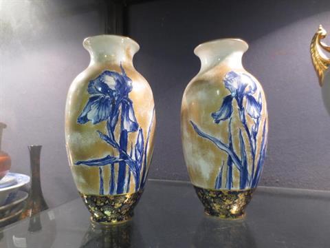 A Pair Of Royal Doulton Iris Pattern Vases