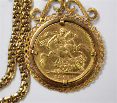 A victorian gold sovereign 1897 in pendant mount on portuguese next aloadofball Images