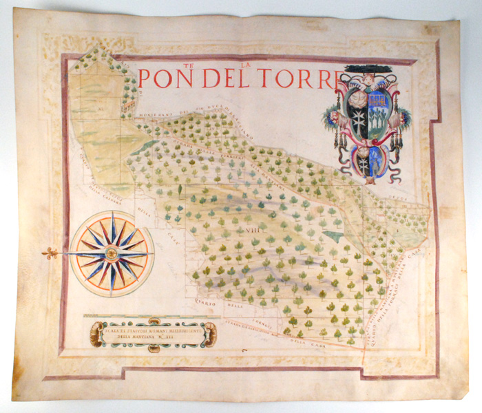 Lot 27 - c.1810: Italian map of Mantiana, Property of Cardinal Pondeltorre20 by 23in.A scarce and unique