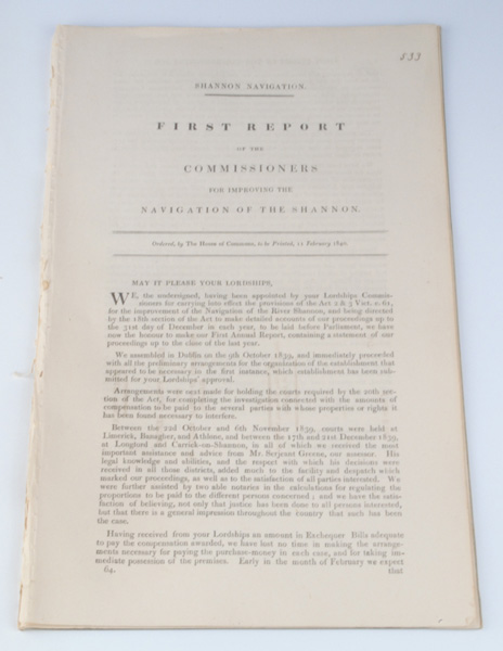 Lot 41 - 1840s: Reports of the Commissioners for Improving the Navigation of the ShannonThe first, third,