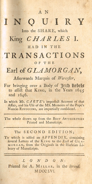 Lot 5 - 1645-46: Inquiry into the Bringing Over a Body of Irish Rebels to assist the King8 by 4.5in.