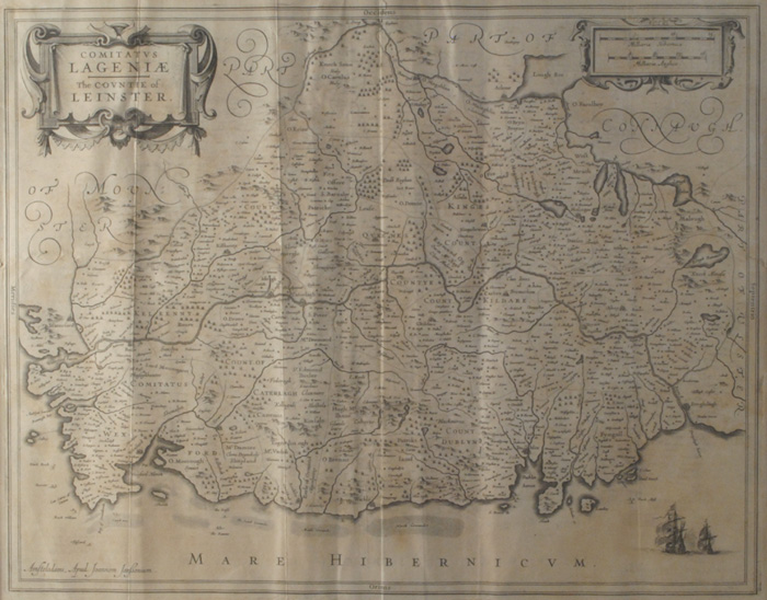 Lot 6 - c. 1670: Jan Jansson Comitatus Lageniae -- The Countie of Leinster mapLate 17th Century map of