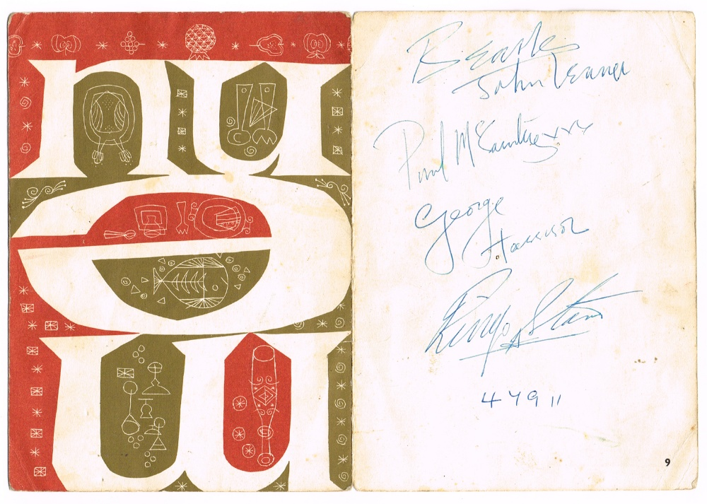 Lot 8 - The Beatles: Irish visit set of autographs on Aer Lingus dinner menu, 7 November 1963 7 by 5in.,