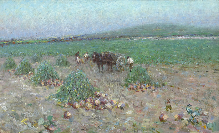 Lot 28 - Nathaniel Hill RHA (1860-1930) TURNIP GATHERING, c.1889 oil on board with partial original inscribed