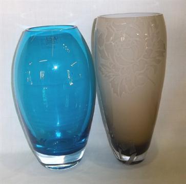 Lg Royal Doulton Glass Vase With Etched Dec Amp 1 Other Glass Vase