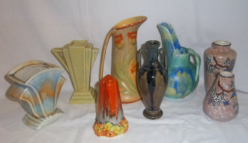 Pr Vases With Hand Painted Bird Flower Patterns Signed A Dubois