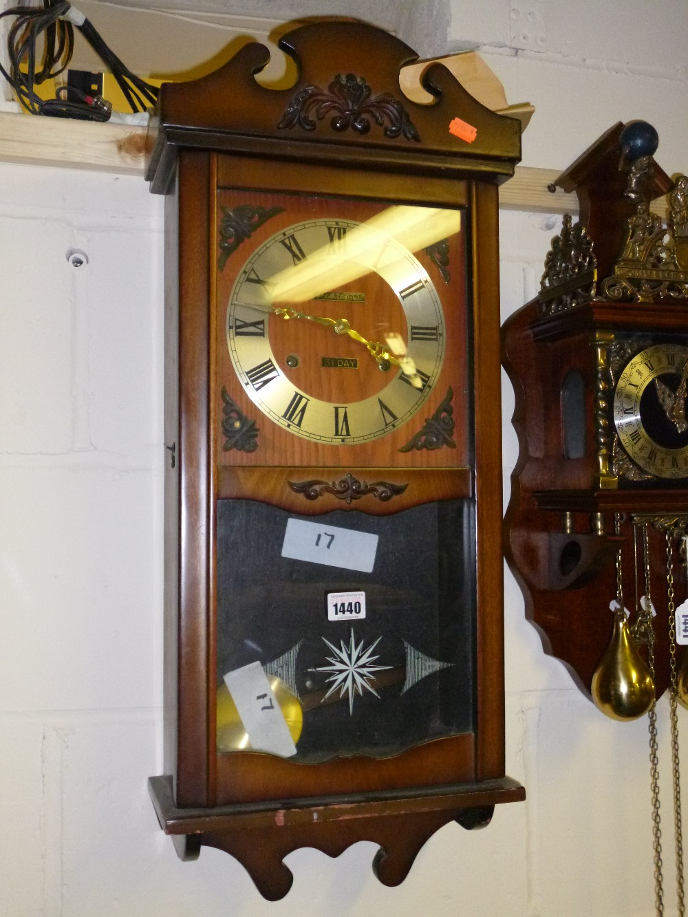 A president 31 day wall clock with key and pendulum lot 1440 a president 31 day wall clock with key and pendulum amipublicfo Image collections
