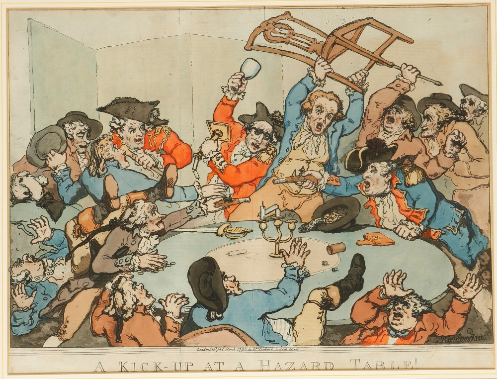 "Lot 7 - AFTER THOMAS ROWLANDSON (1756-1827) ""A Kick-Up at a Hazard Table!"", published by William Holland"