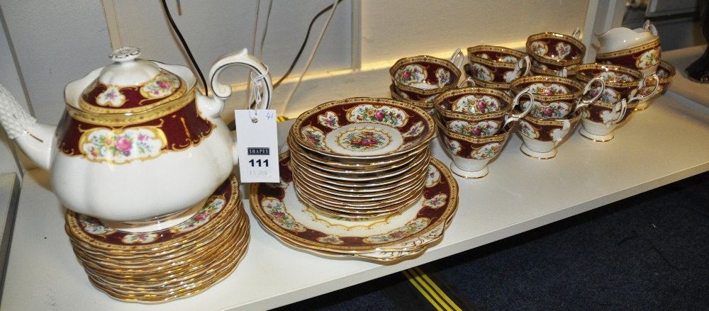 lot 111 royal albert bone china teaset in the lady hamilton pattern 41 pieces