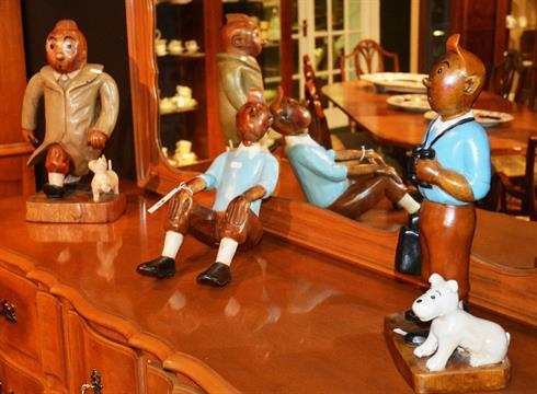 A Group Of Three Painted Wooden Tintin Figures 3