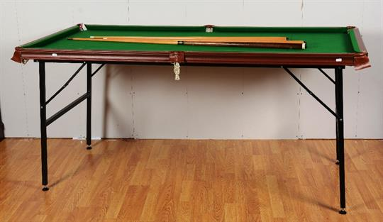 A Samu0027s Atlas Quarter Size Snooker Table, With Cues, Balls And Pool Balls,  94cm Wide X 185cm Long