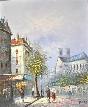 Burnett, Parisian street scene, signed, oil on canvas, 50cms