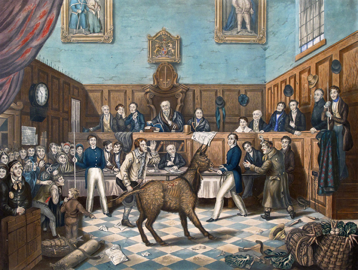 Lot 670 - After P. Mathews The Trial of 'Bill Burn' under Martin's Act Aquatint engraved by Charles Hunt