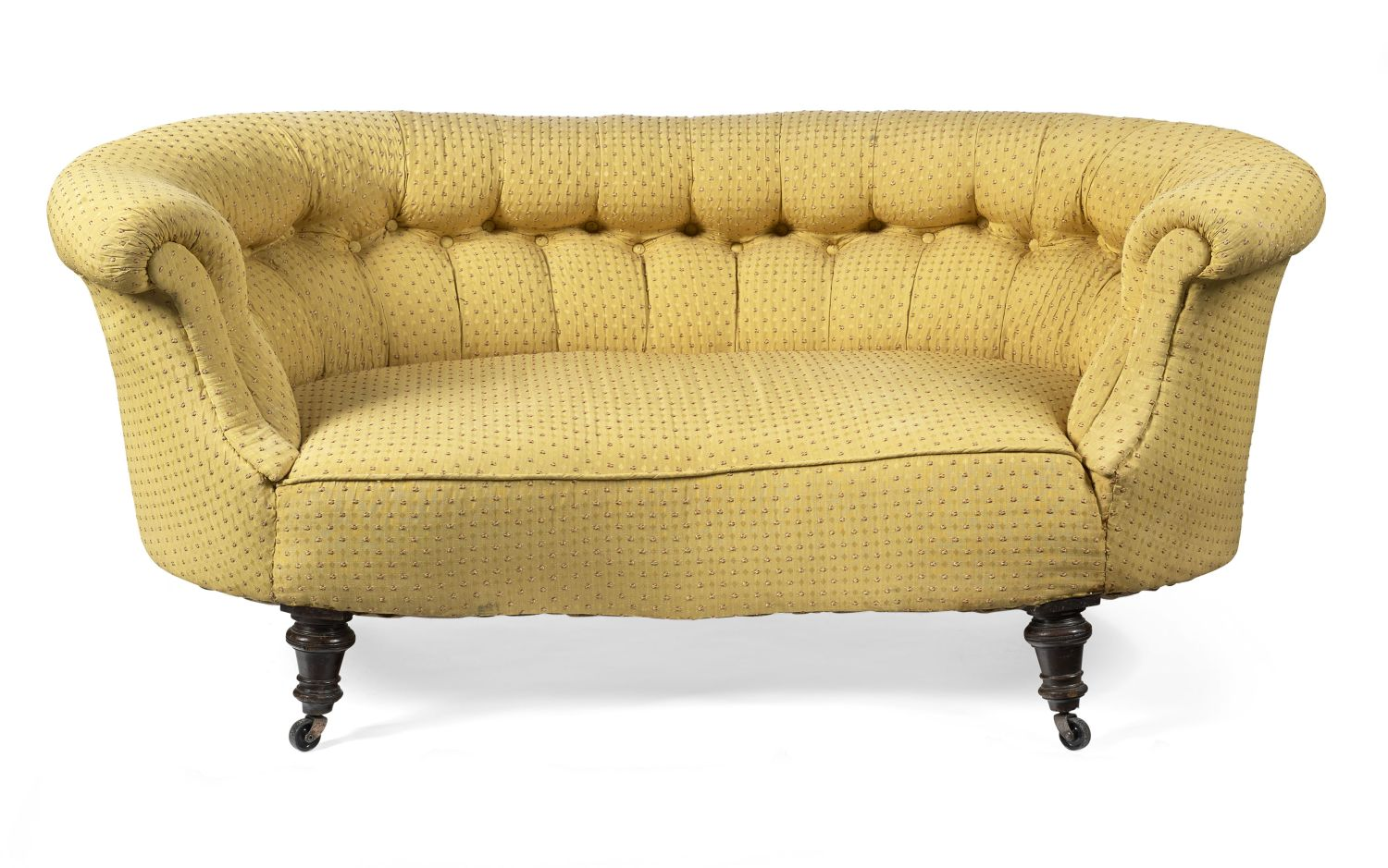 VICTORIAN BUTTON UPHOLSTERED SMALL SOFA LATE 19TH CENTURY