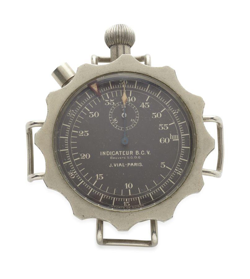 JEAN VIAL - SA Paris Bomb Timer Stopwatch1930s, nickel case