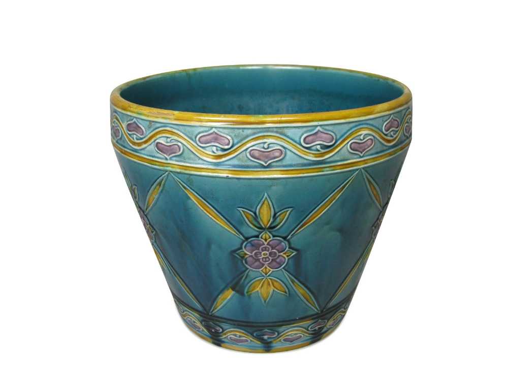 Minton Seccessionistlarge Jardini Re 1915of Tapering Cylindrical Form With Foliate Decoration O
