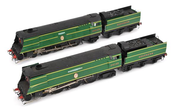 Lot 341 - 2 Kemilway kit built OO gauge Southern Railway Battle of Britain class locomotives. ?Sir Archibald