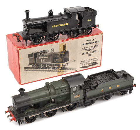 Lot 345 - 2 kit built OO gauge locomotives. A Wills Finecast Southern Railway Drummond class M7 0-4-4-T
