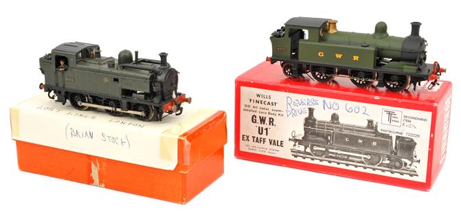 Lot 346 - 2 kit built OO gauge GWR locomotives. A Wills Finecast class ?U1? ex Taff Vale 0-6-2T locomotive,