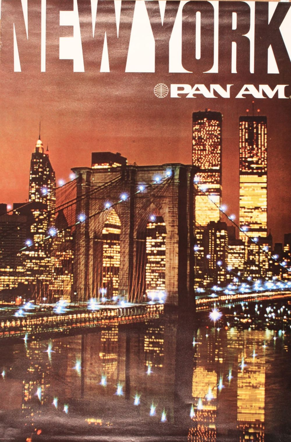 new york pan am world trade centre at night original colour photographic poster printed in usa. Black Bedroom Furniture Sets. Home Design Ideas