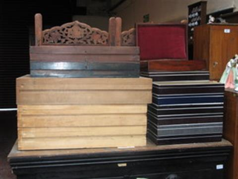 Three Wooden Specimen Drawers And Large Quantity Of Glass Topped