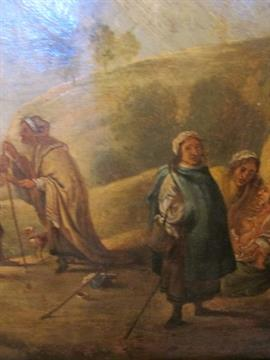 DUTCH SCHOOL, 18TH CENTURY Figures in a Landscape Bears Label Verso