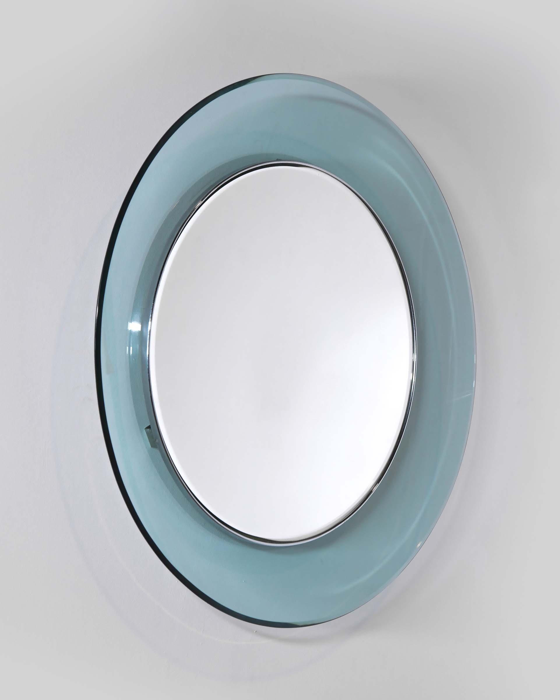 Max ingrand, mod. 1669 specchio circolare con cornice in vetro ...