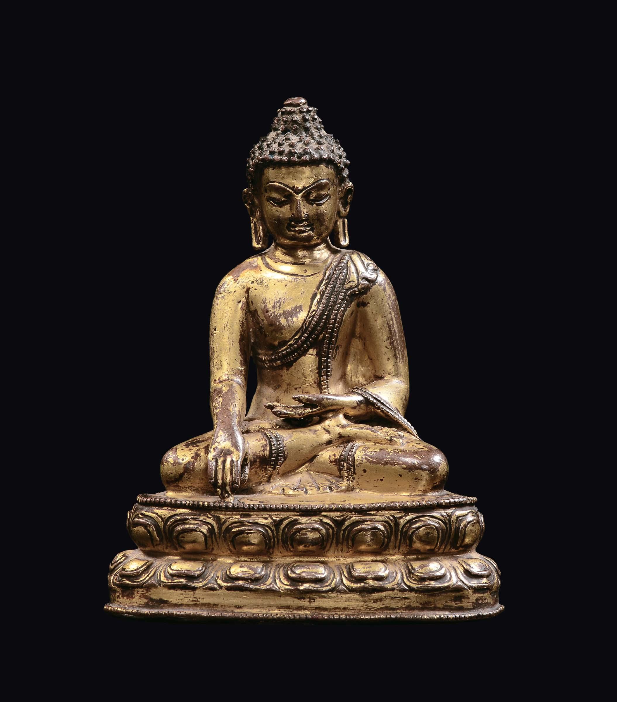 A small gilt bronze buddha figure on a double lotus flower tibet lot 483 a small gilt bronze buddha figure on a double lotus flower tibet izmirmasajfo