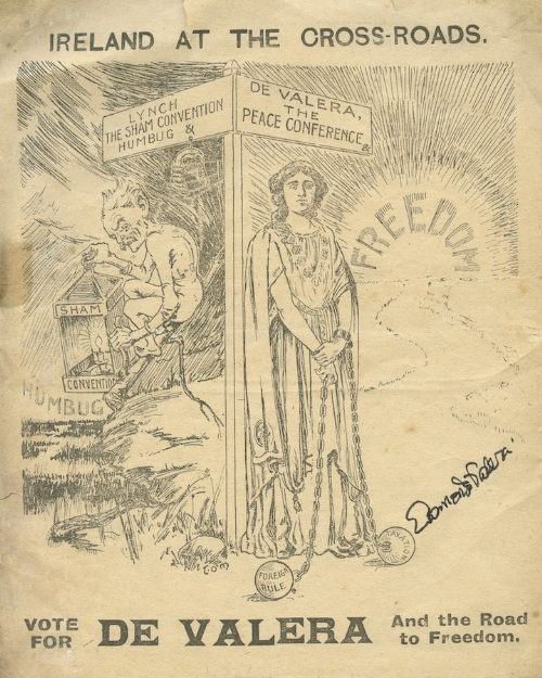 EAMON DE VALERA A cyclostyled cartoon leaflet headed 'Ireland at the Crossroads .. Vote for De
