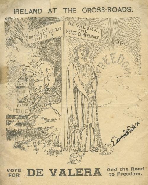 Lot 189 - EAMON DE VALERA A cyclostyled cartoon leaflet headed 'Ireland at the Crossroads .. Vote for De