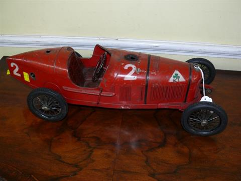 A 1930s Cij Alfa Romeo P2 Clockwork Tinplate Toy With Michelin
