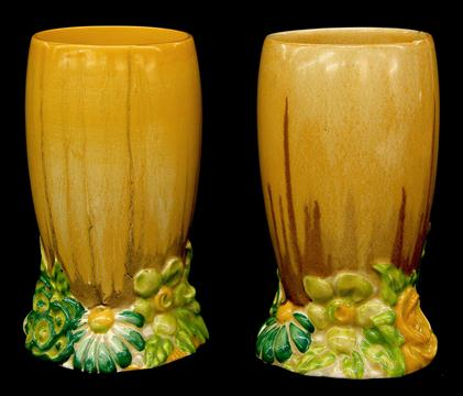 Pair Of Clarice Cliff My Garden Bizarre Vases Shape 663