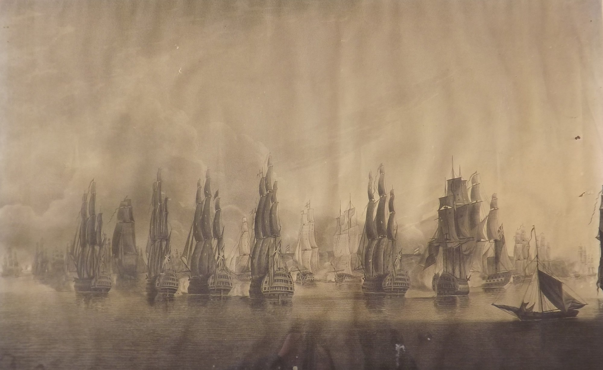 """Lotto 921 - F Dukes after Major Adlam - `View of the British Fleet`, black and white engraving, 17"""" x 27"""","""