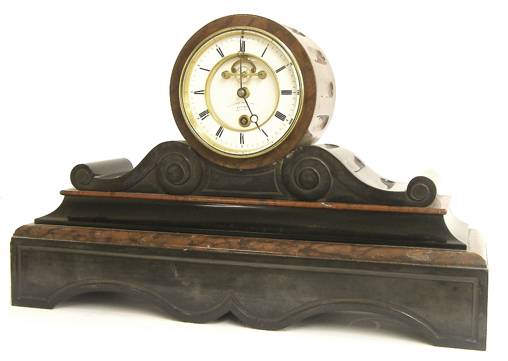 Lot 679 - French black slate and rouge marble year going drumhead mantel clock, the Achille Brocot movement