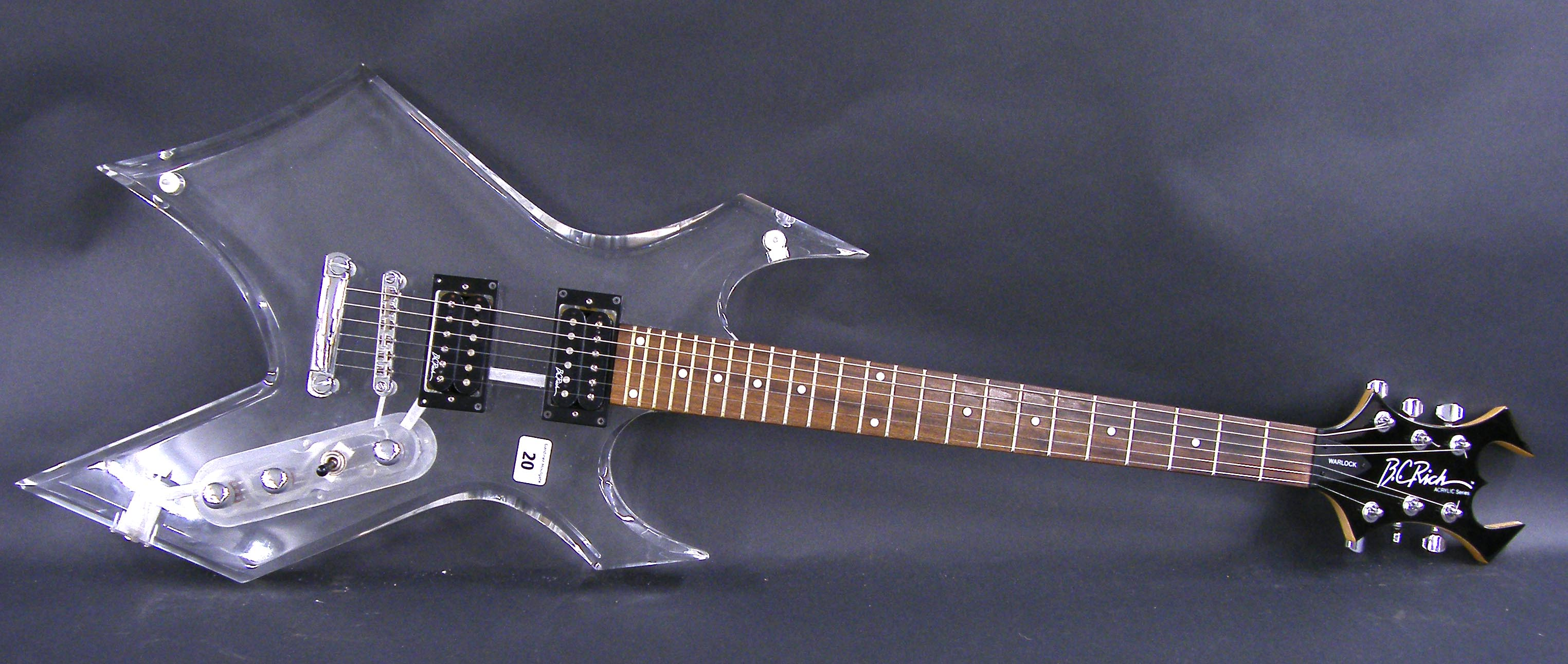 Lot 20 - B.C. Rich Acrylic Series Warlock electric guitar, made in Korea, ser. no. 41201633, clear Perspex