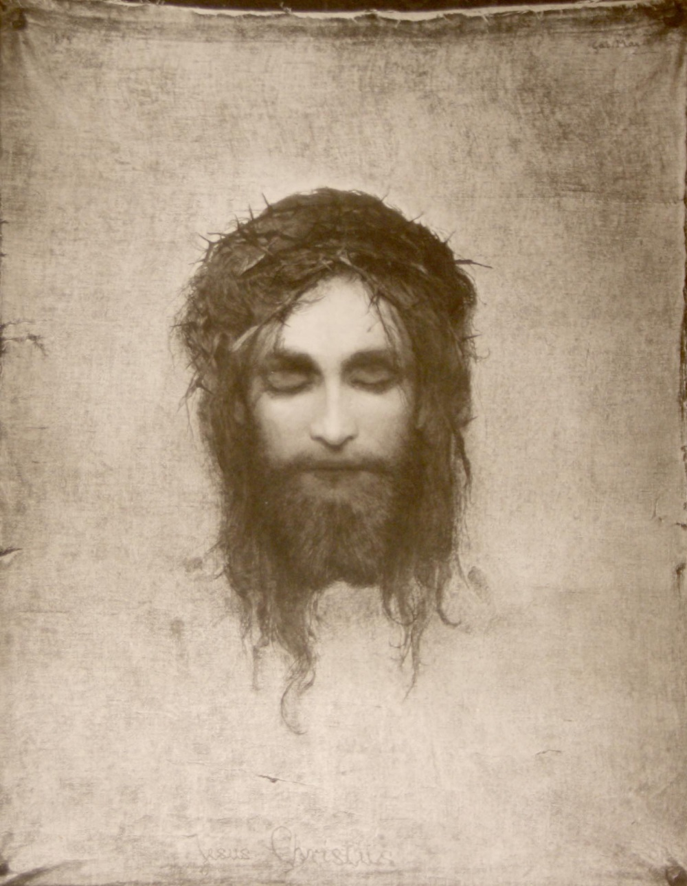 After Gabriel Von Max (1840-1915) - `Jesus Christus`, black and ...
