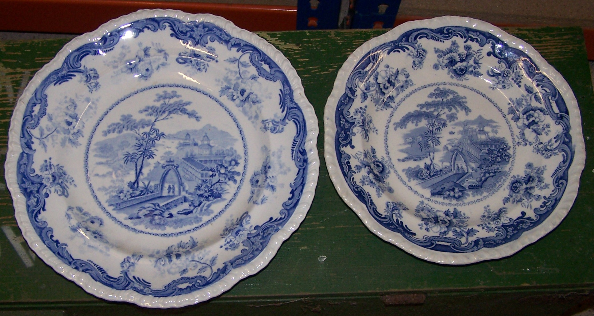 Lot 27 - A 19th Century Hull Bellevue pottery Plate printed in blue and white with & A 19th Century Hull Bellevue pottery Plate printed in blue and white ...