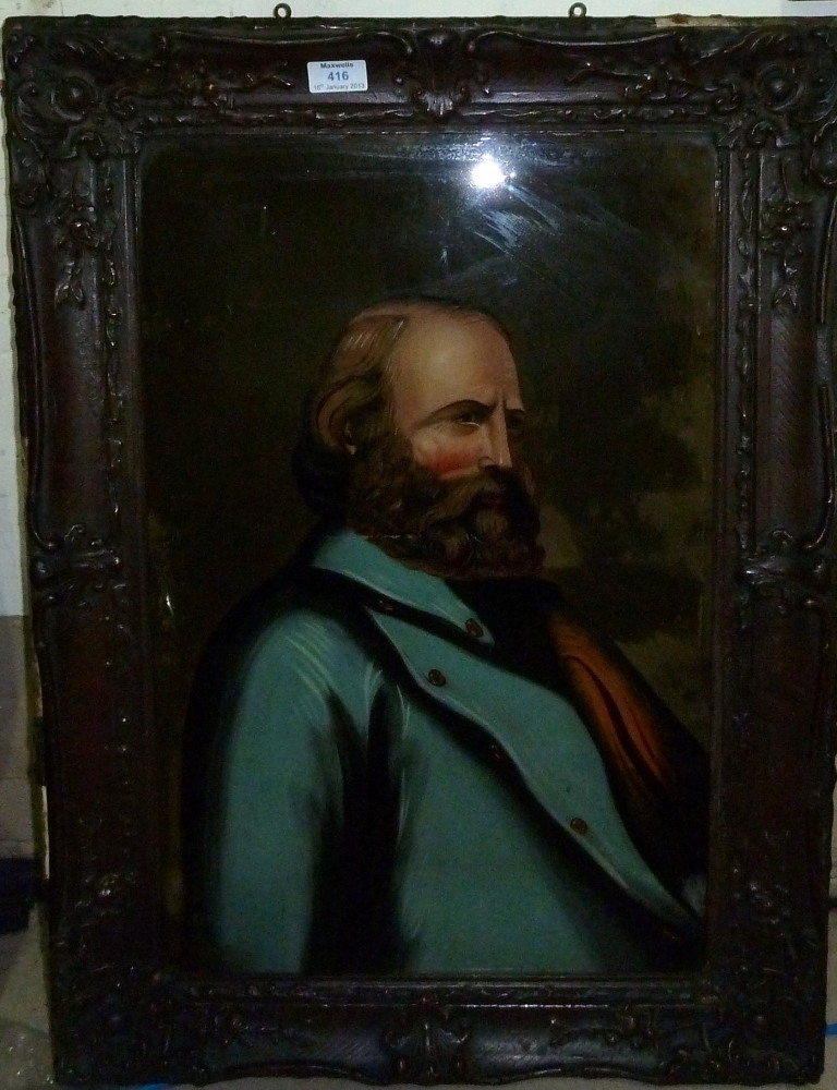 """A 19th century painting on glass: half length portrait of Garibaldi, 22½"""" x 15"""", composition moulded"""